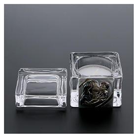 Pamiątka Chrztu pudełeczko 5x5x5 cm z podgrzewaczem tealight Macierzyństwo s3