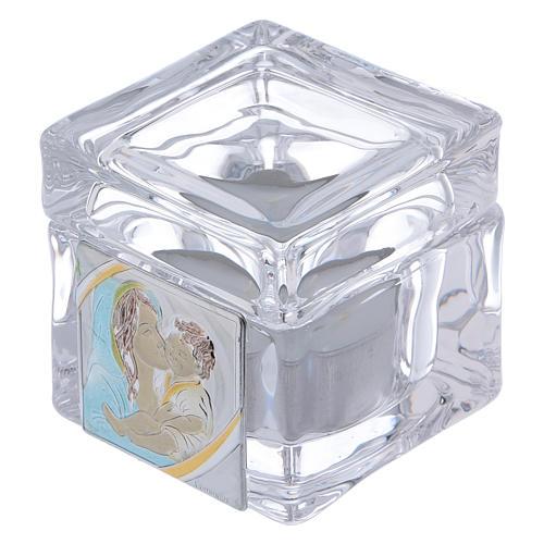 Pamiątka Chrztu pudełeczko 5x5x5 cm z podgrzewaczem tealight Macierzyństwo 1