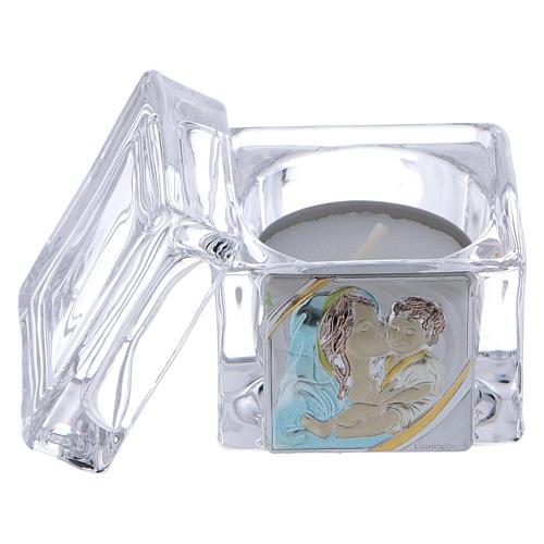 Pamiątka Chrztu pudełeczko 5x5x5 cm z podgrzewaczem tealight Macierzyństwo 2