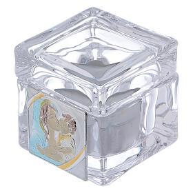 Lembrancinha Batismo caixinha 5x5x5 cm vela Maternidade s1