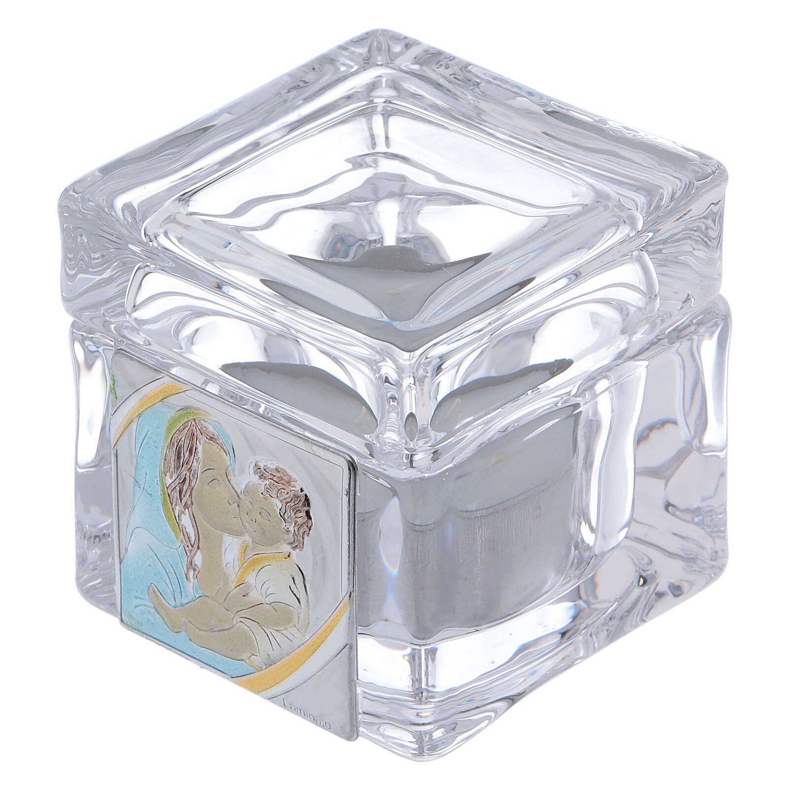 Baptism souvenir box with Maternity and tea light candle 2x2x2 in 4