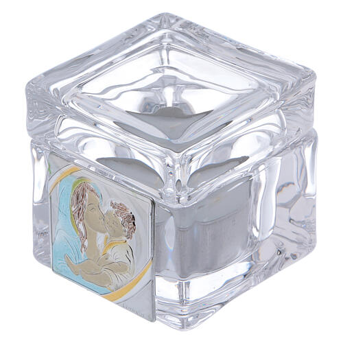 Baptism souvenir box with Maternity and tea light candle 2x2x2 in 1