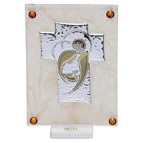 Recuerdo Boda cuadrito Sagrada Familia estilizada sobre lámina 10x5 cm s1