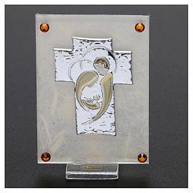 Recuerdo Boda cuadrito Sagrada Familia estilizada sobre lámina 10x5 cm s2