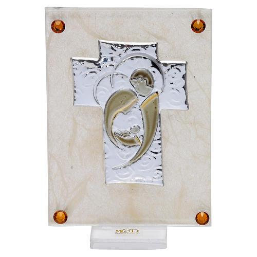 Recuerdo Boda cuadrito Sagrada Familia estilizada sobre lámina 10x5 cm 1