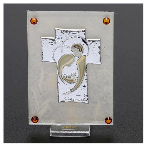 Recuerdo Boda cuadrito Sagrada Familia estilizada sobre lámina 10x5 cm 2