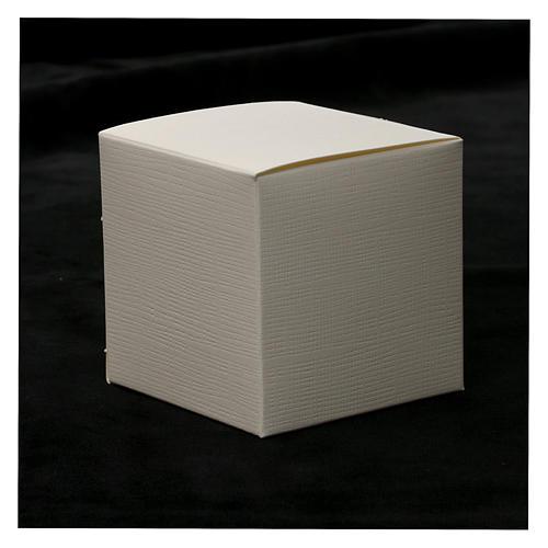 Recuerdo Boda cuadrito Sagrada Familia estilizada sobre lámina 10x5 cm 4