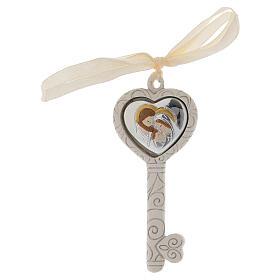 Heart shaped key pendant Holy Family favor 4x2 in s1
