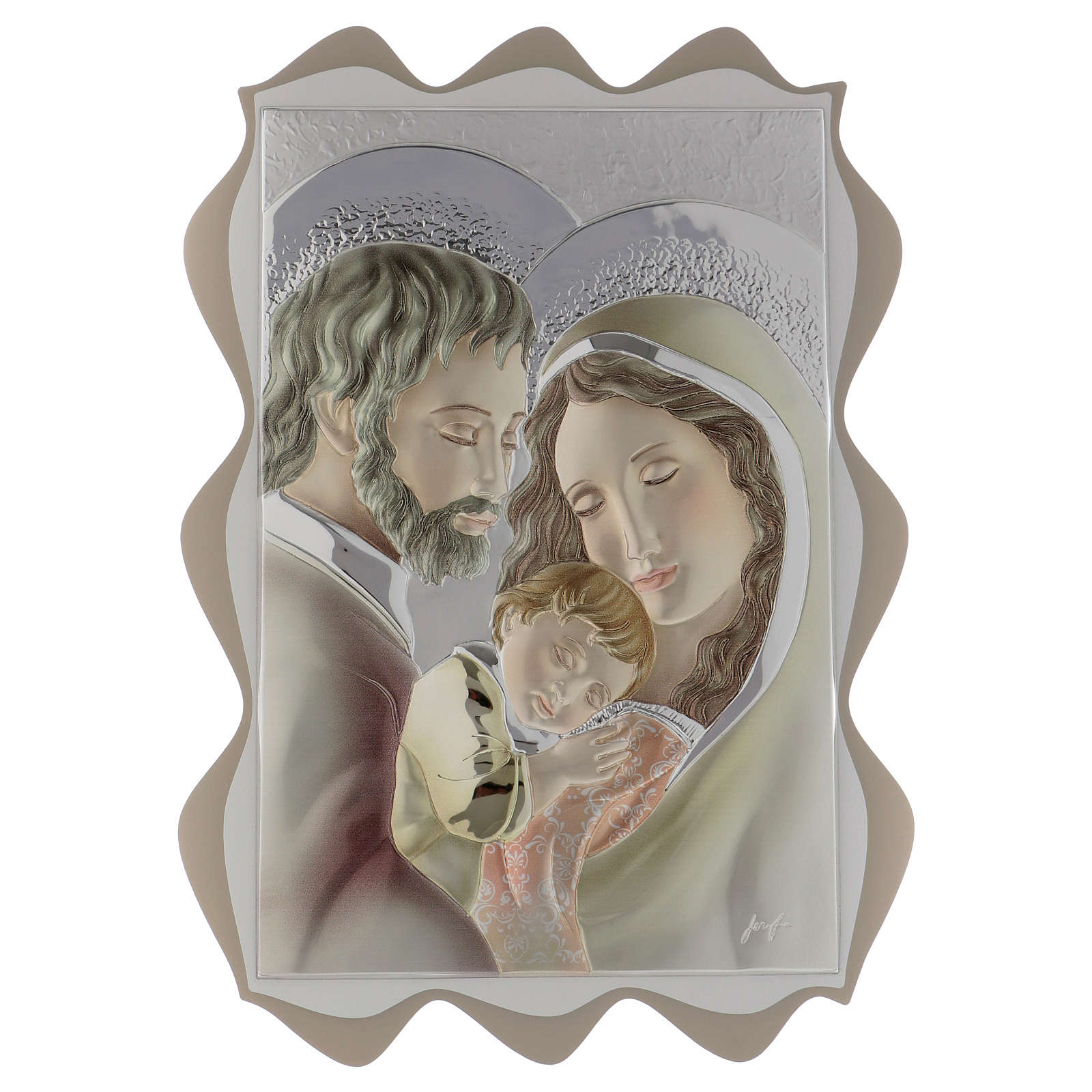 Cuadro Sagrada Familia plata coloreada 40x30 cm 3