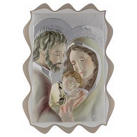 Quadro capoletto Sacra Famiglia argento colorato 40x30 cm s1
