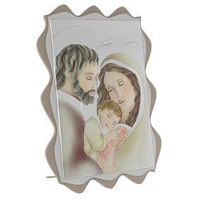 Quadro capoletto Sacra Famiglia argento colorato 40x30 cm s3