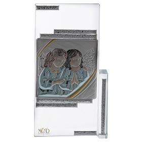 Cuadrito regalo con Angelitos de cristal 15x10 cm