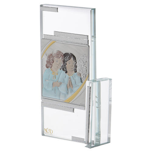 Quadretto regalo con Angioletti in cristallo 15x10 cm 2