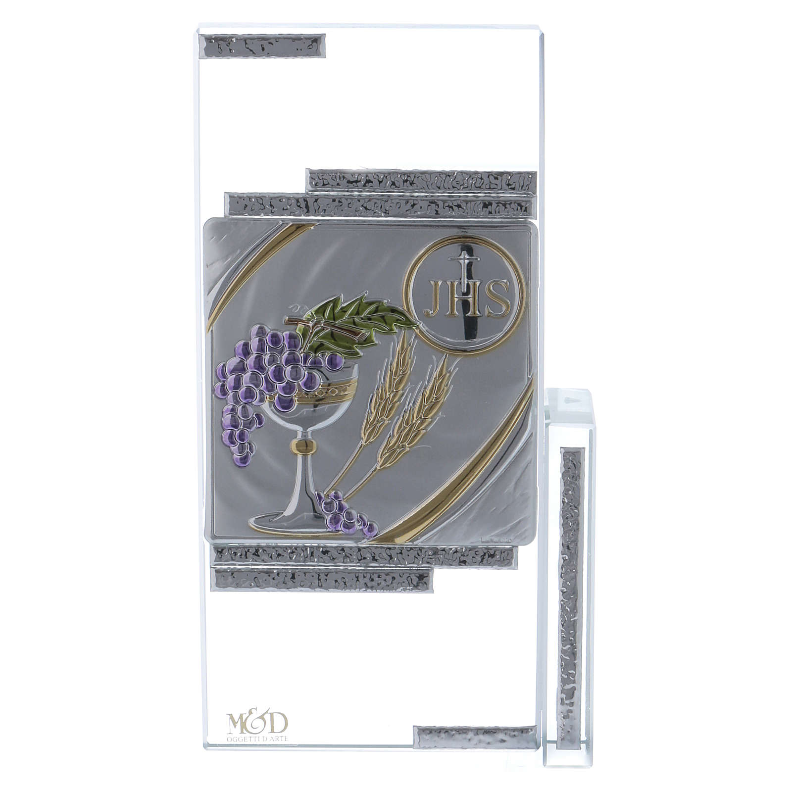 Cuadrito cristal con los símbolos de la Comunión 20x10 cm 3
