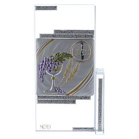 Cuadrito cristal con los símbolos de la Comunión 20x10 cm s1