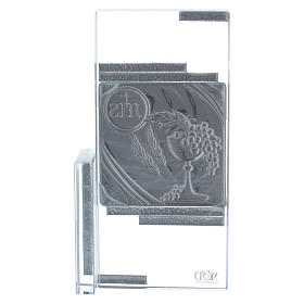 Cuadrito cristal con los símbolos de la Comunión 20x10 cm s3