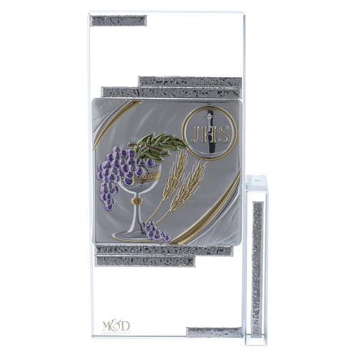 Cuadrito cristal con los símbolos de la Comunión 20x10 cm 1
