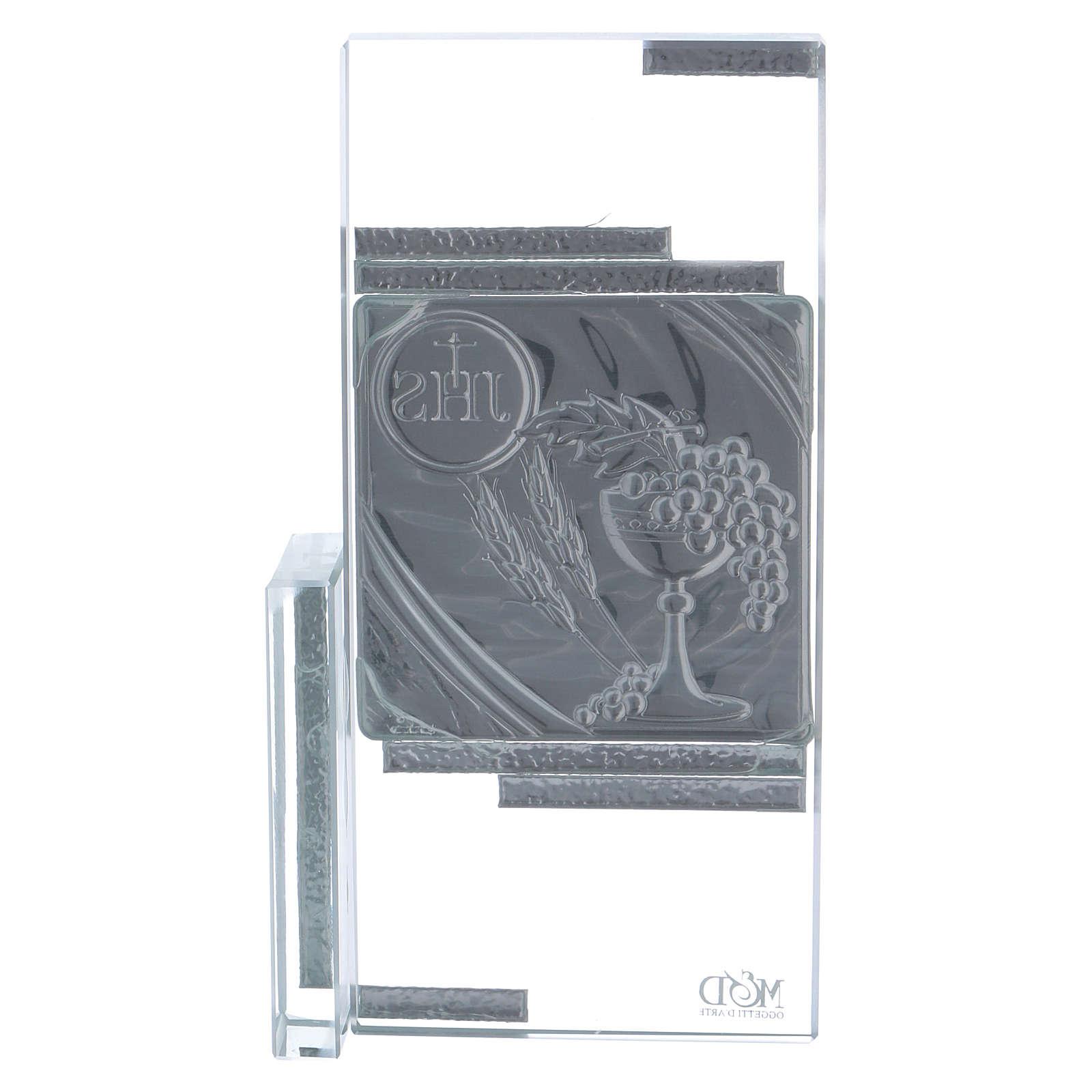 Cadre cristal avec symboles de la Communion 15x10 cm 3