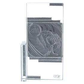 Cadre cristal avec symboles de la Communion 15x10 cm s3