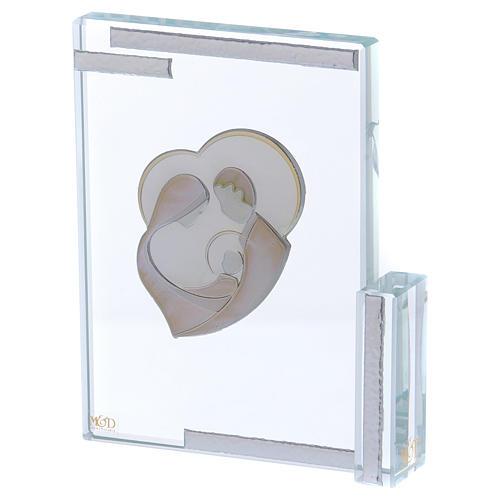 Quadretto bomboniera con Sacra Famiglia stilizzata su lamina 10x10 cm 2