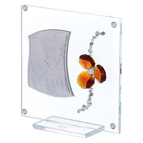 Bonbonnière cadre avec Sainte Famille et fleur ambre 10x10 cm s2