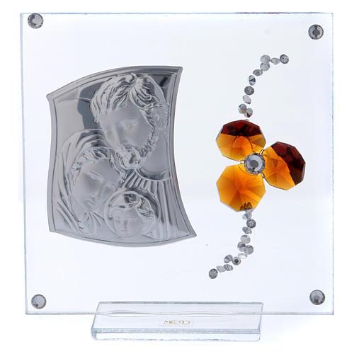 Bonbonnière cadre avec Sainte Famille et fleur ambre 10x10 cm 1
