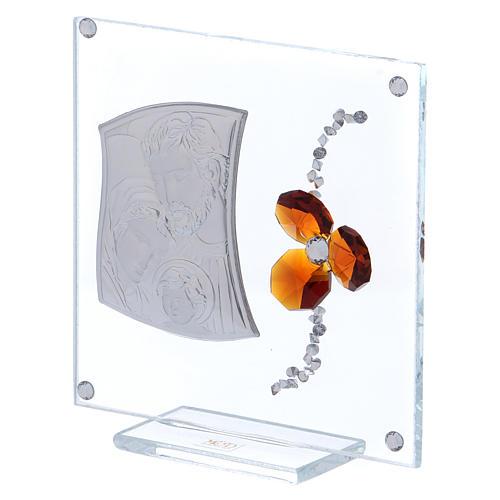 Bonbonnière cadre avec Sainte Famille et fleur ambre 10x10 cm 2