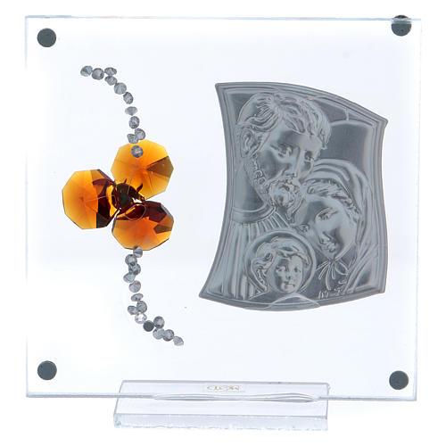 Bonbonnière cadre avec Sainte Famille et fleur ambre 10x10 cm 3