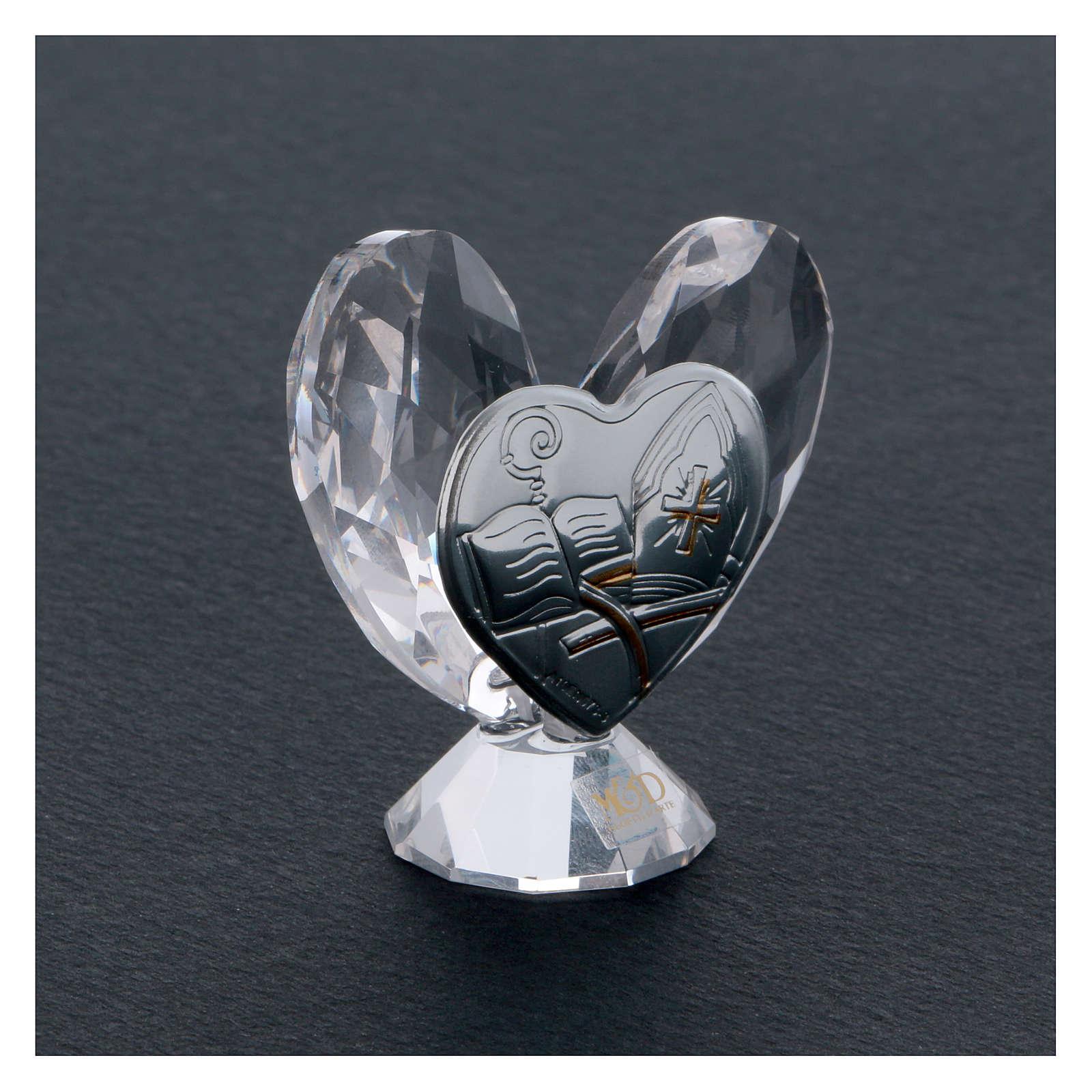 Bombonniere Firmung Herz Form Kristall und Silber Platte 5x5cm 3
