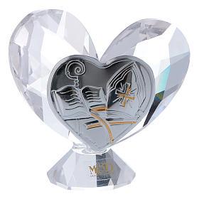 Bombonniere Firmung Herz Form Kristall und Silber Platte 5x5cm s1