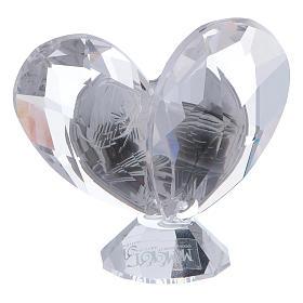 Bombonniere Firmung Herz Form Kristall und Silber Platte 5x5cm s3