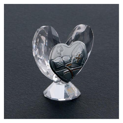 Bombonniere Firmung Herz Form Kristall und Silber Platte 5x5cm 2