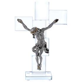 Idea regalo crocefisso in cristallo e lamina 25x15 cm s1