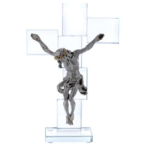 Idea regalo crocefisso in cristallo e lamina 25x15 cm 1