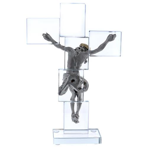 Idea regalo crocefisso in cristallo e lamina 25x15 cm 3