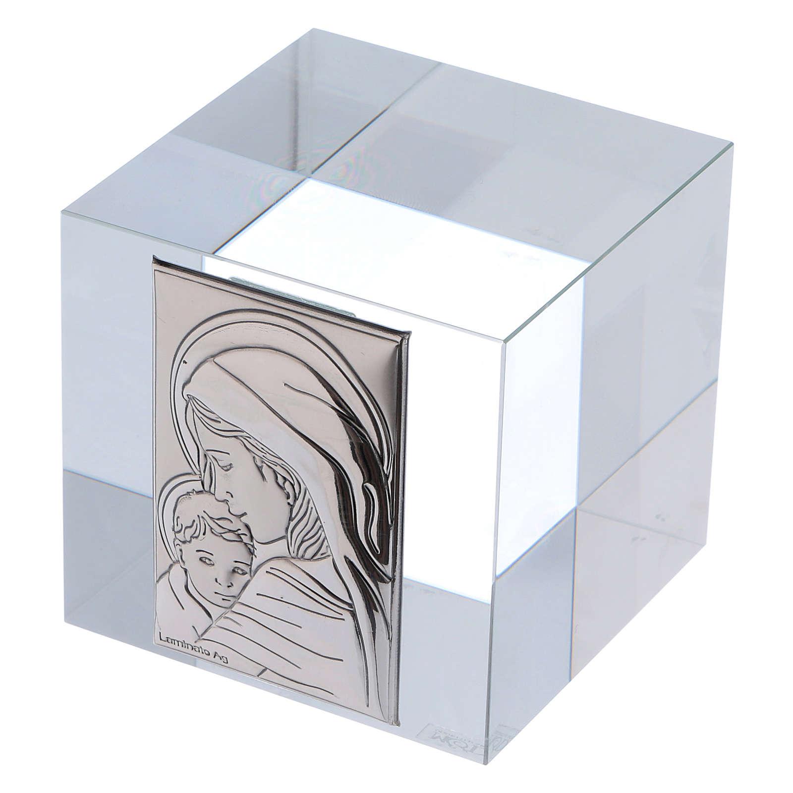 Bonbonnière religieuse cube presse-papiers Maternité 5x5x5 cm 3