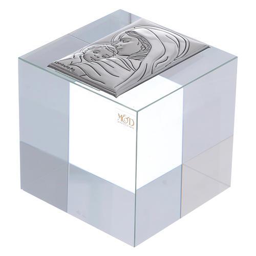 Bonbonnière religieuse cube presse-papiers Maternité 5x5x5 cm 1