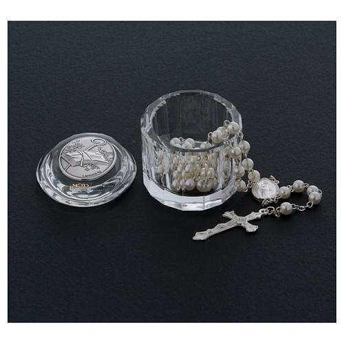 Bombonera cajita ovalada con rosario para Confirmación 3