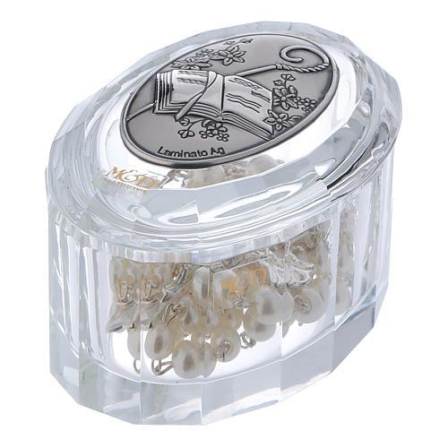Bonbonnière boîte à chapelet cristal ovale pour Confirmation 1