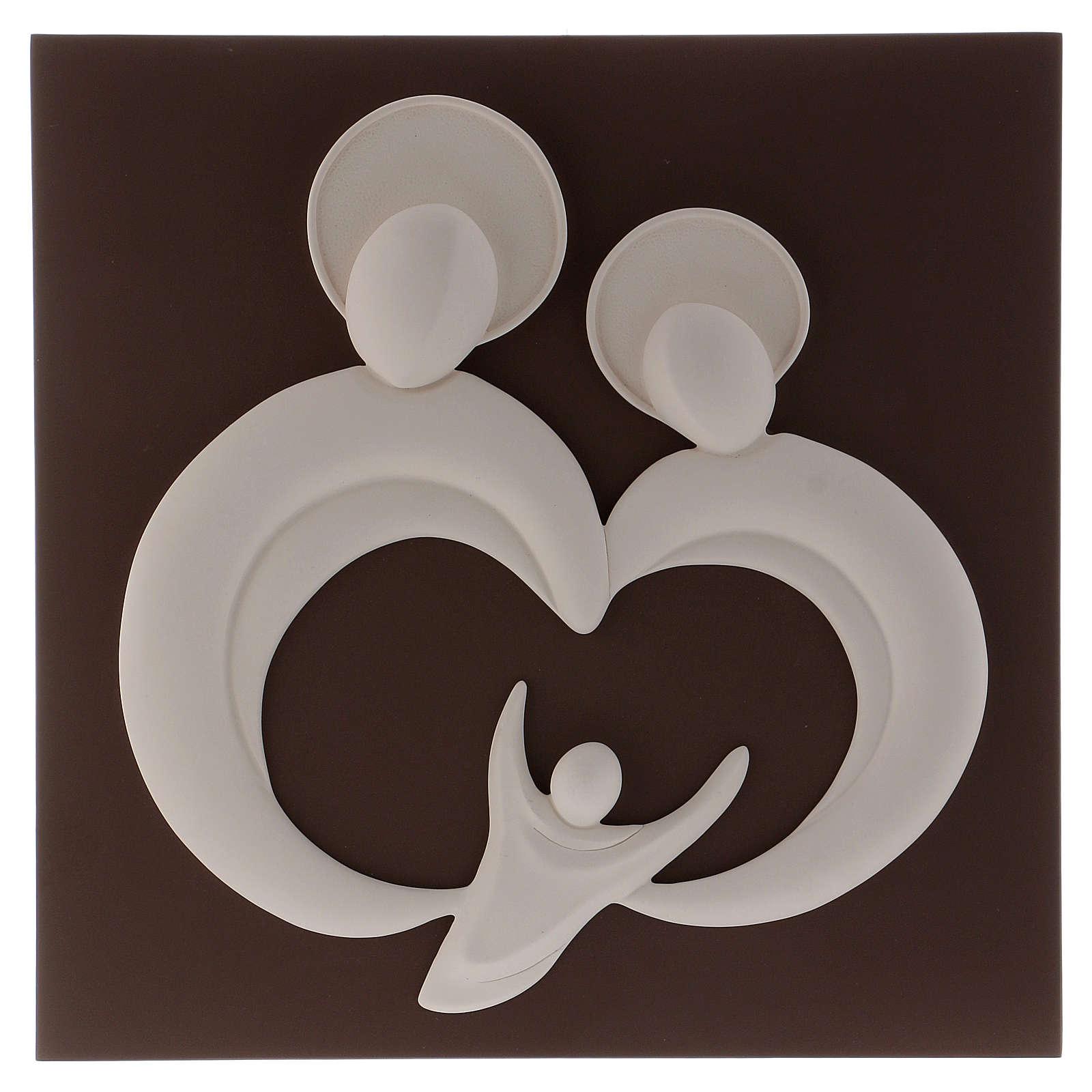Quadro sacra Famiglia stilizzata polvere di marmo e legno 3