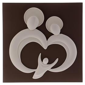 Quadro sacra Famiglia stilizzata polvere di marmo e legno s1