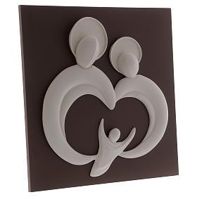 Quadro sacra Famiglia stilizzata polvere di marmo e legno s3