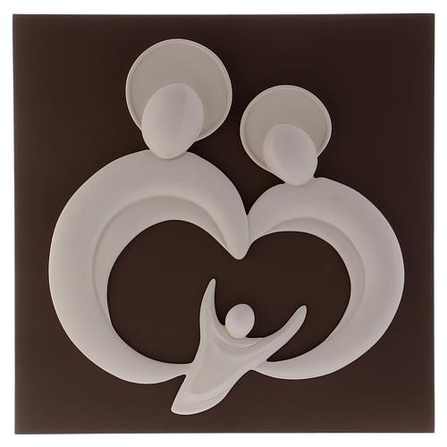 Quadro sacra Famiglia stilizzata polvere di marmo e legno 1