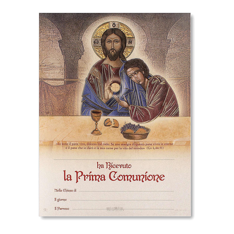Pergamino Comunión Icono Jesús y San Juan 24x18 cm 3