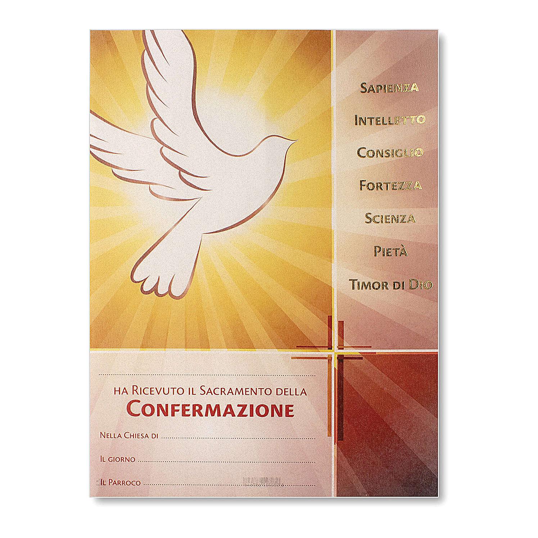 Pergamena Cresima immagine Spirito Santo 24x18 cm 3