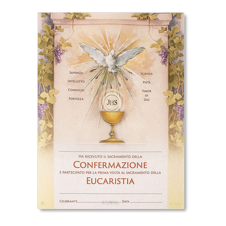 Pergamino Primera Comunión y Confirmación Espíritu Santo y Cáliz 24x18 cm 3
