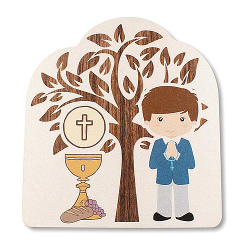Pamiątka Komunii Drzewo Życia z Chłopcem i Kielichem 10,5x9,5 cm 1