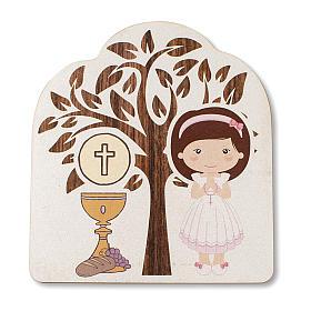 Bonbonnière souvenir Communion Arbre de la vie avec Fille et Calice 10,5x9,5 cm s1
