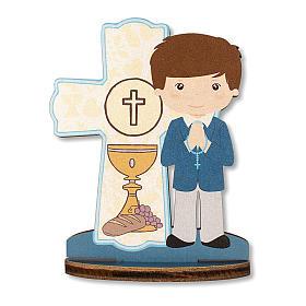 Bonbonnière souvenir Communion Croix Eucharistique Garçon 10x7 cm s1