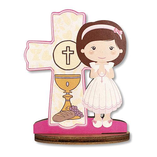 Bombonera recuerdo Comunión Cruz Eucaristía con Niña 10x7 cm 1
